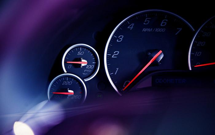 Car Dashboard Instruments. Modern Vehicle Dashboard Dials Closeup. Transportation Photo Collection.